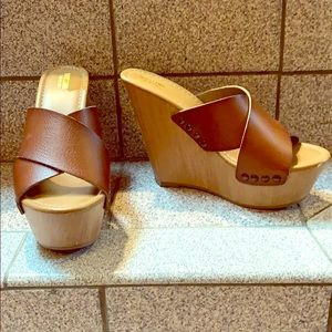 Brown platform wedge sandals